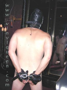 bound slave with hood